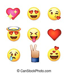 dia dos namorados, emoticon, ícones, amor, emoji, jogo, isolado, branco, fundo, vetorial, illustration.