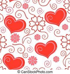 dia dos namorados, padrão, seamless, com, corações, e, flores