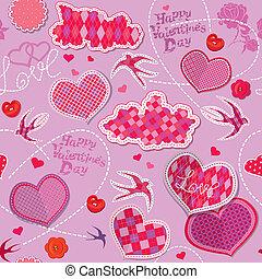 dia dos namorados, seamless, padrão, com, corações, nuvens, e, pássaros, é, feito, de, checkered, tecido, ligado, experiência roxa