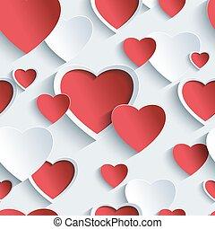 dia dos namorados, seamless, padrão, com, vermelho, -, cinzento, 3d, corações