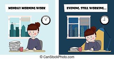 dia duro, trabalhando