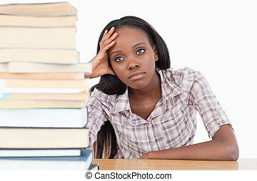 dia, estudante, sonhar, cansadas
