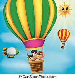 dia, feliz, ar, quentes, voando, crianças, balões