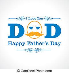 dia, feliz, cartão, pais, saudação