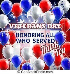 dia, fundo, americano, veterans, bandeira, balões