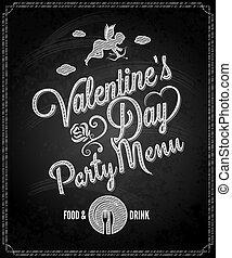 dia, fundo, menu, valentines, chalkboard