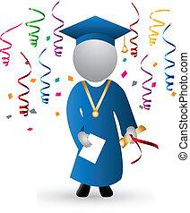 dia graduação, e, celebração