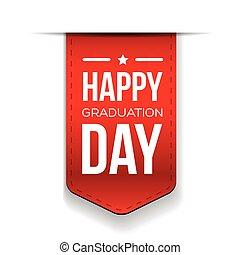 dia graduação, fita, feliz