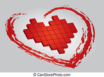dia, ilustração, valentine