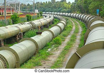 dia, indústria, ao ar livre, gás, óleo