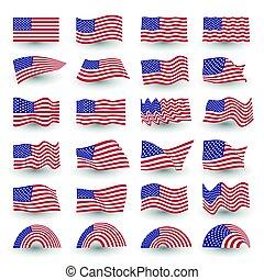 dia independência, bandeira, jogo, de, estados unidos, símbolo americano, ondulado, forma., julho quarto, vetorial, logotipo, illustration.