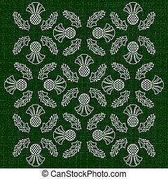 dia independência, de, scotland., 24, june., ornamento, de, flores, de, um, thistle., textura, de, fabric., verde escuro, fundo