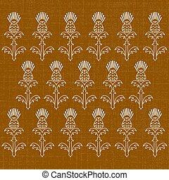 dia independência, de, scotland., 24, june., ornamento, de, flores, de, um, thistle., textura, de, fabric., experiência marrom