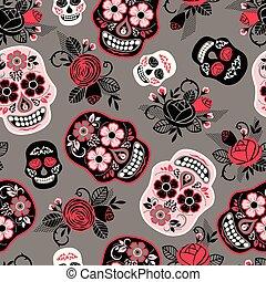 dia, k, los, muertos., den, o, ta, dead., seamless, pattern.