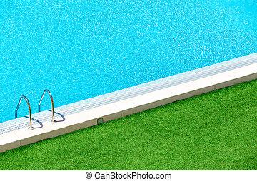 dia, luminoso, verão, piscina, infinidade