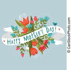 dia mãe feliz, floral, saudação