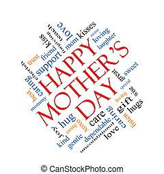dia mãe feliz, palavra, nuvem, conceito, angled