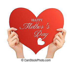dia, mãe, mãos, segurando, fundo, dois, vetorial, vermelho, heart.