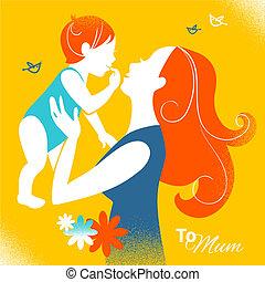 dia, mãe, style., retro, bebê, feliz, mãe, cartões, silueta...