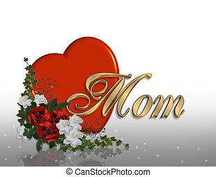 dia mães, cartão, coração, 3d, gráfico