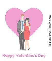 dia, mulher, par, feliz, adulto, homem, cartaz, valentines