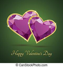dia namorado, luxo, magenta, diamante, coração