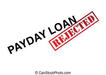 dia pagamento, empréstimo, rejeitado