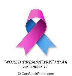 dia, ribbon., cor-de-rosa, azul