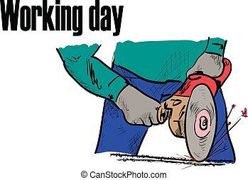 dia, trabalhando