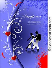 dia valentineçs, saudação, card., vetorial, illustration., convite, cartão