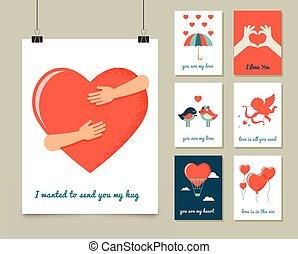 dia valentine, amor, cartões comemorativos, e, cartaz