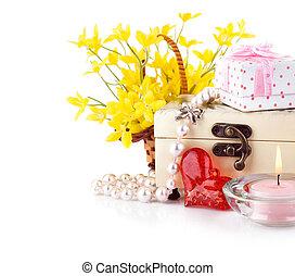 dia valentine, conceito, com, presente, e, flores