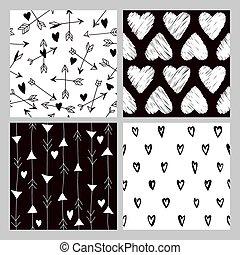 dia valentine, coração, padrões, -, 4, seamless, fundos, -, em, vetorial