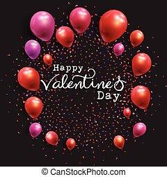 dia valentine, fundo, com, balões, e, confetti