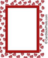 dia, valentines, corações, borda