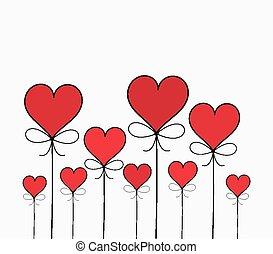 dia, valentines, corações