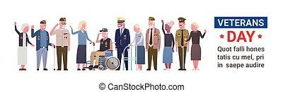 dia veterans, celebração, nacional, americano, feriado, bandeira, com, grupo, de, aposentado, militar, pessoas