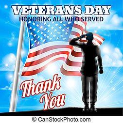 dia veterans, silueta, soldado, saudando, bandeira americana