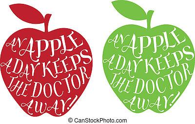 dia, vetorial, maçã