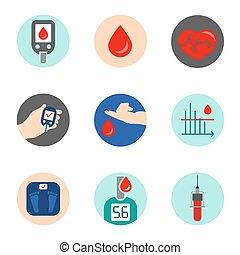 diabète, icône, vecteur