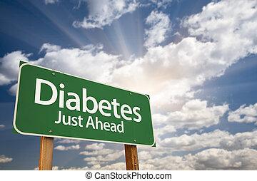 diabète, juste, devant, vert, panneaux signalisations, et, nuages