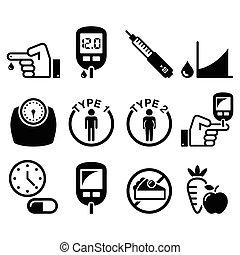 diabète, maladie, santé, icônes, ensemble