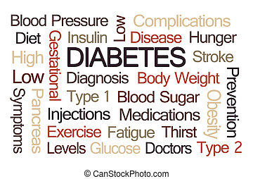 diabète, mot, nuage