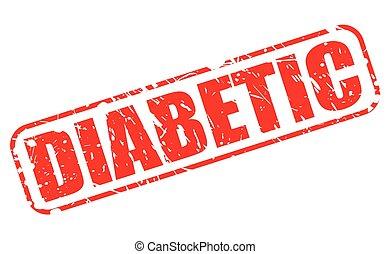 diabético, vermelho, selo, texto
