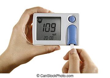 diabétique, mètre, glucose