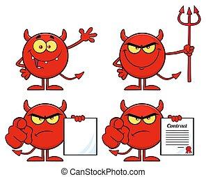 diabeł, character., zbiór, wektor, rysunek, czerwony, emoji