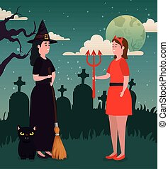 diabeł, czarownica, projektować, halloween, ona