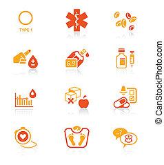 diabete, icone, ||, succoso, serie