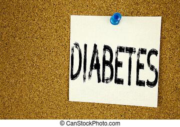 diabetes., 概念, 付せん, 背景, ビジネス, スペース, テキスト, 提示, 病気, インシュリン, 執筆, キャプション, 書かれた, メモ, 手, 概念, メモ, コピー, 医学, コルク, インスピレーシヨン