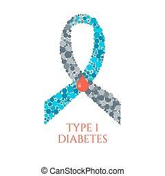 diabetes, 1, tipo, símbolo
